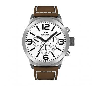 TW Steel Marc Coblen Edition Chrono mit Lederband 45 MM White/Brown TWMC31